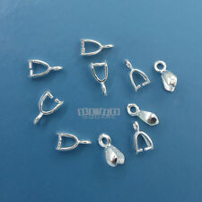 10PC Sterling Silver 8mm Arrow Pinch Connector Bail for Pendant / Earring #33467