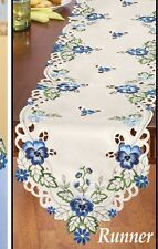 Embroidered Blue Pansy Table Linen Runner