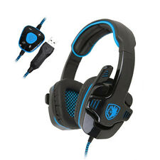 Sades SA901 Stereo 7.1 Surround Headset USB Headband PC Pro Gaming w/Mic Blue