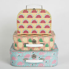 SET 3 TROPICAL PINK FLAMINGO SUITCASE STORAGE BOXES - NEST DECORATION BEDROOM