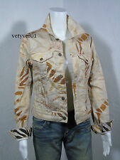 New RALPH LAUREN Denim&Supply Khaki Zebra Print Trucker Denim Jacket size S/P