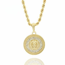 "Mens Medallion Patern Lion Gold Plated 24"" Rope Chain Pendant Necklace"