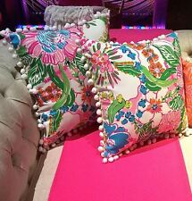 NEW LILLY PULITZER for Target Reversible PILLOW SET OF 2 Nosie Posey Floral PAIR