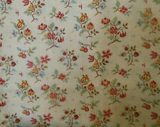 Antique French Tree of Life Indienne Cotton Fabric ~pink blue red mustard yellow