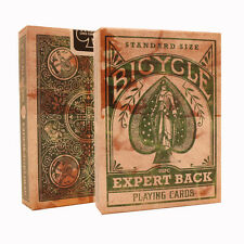 Green Expert Back Bicycle Playing Cards - Distressed Vintage Look Deck - USPCC
