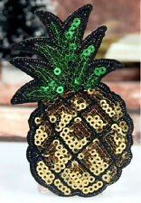 """Pineapple - Fruit - Tropical - Sequin Iron On Applique Patch - 3-3/8""""H"""