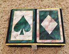 Vintage Congress Playing Cards Green Spade Diamond Front Made In Spain