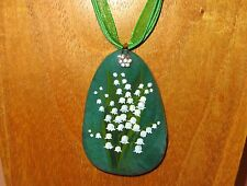 Hand painted Green Stone pendant Lily of the Valley White Flowers Christmas Gift