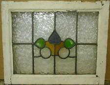 """OLD ENGLISH LEADED STAINED GLASS WINDOW Cute Abstract Design 22.25"""" x 17.75"""""""