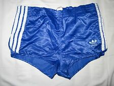 "Vintage Blue Adidas Shiny silky Nylon Sports Shorts GLANZ 30"" S Made in UK"