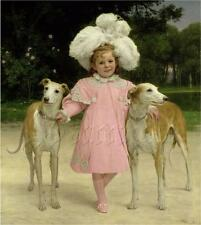 GREYHOUND DOGS CHILD GIRL PLUME FEATHER HAT PINK COAT Vintage Canvas art print