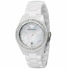 NEW EMPORIO ARMANI AR1426 LADIES WHITE CERAMIC CRYSTAL WATCH