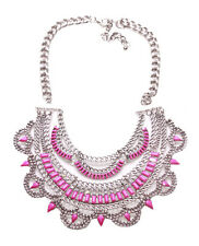 Layla -Fuchsia Pink Gem & Diamante Encrusted Bib Statement Necklace(Ns12)
