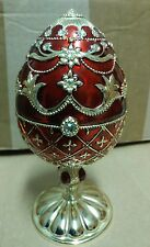 "6 3/4"" Faberge Egg Music Box Red/Gold Cat"