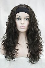 New fashion 3/4 wig with headband brown wavy long synthetic women's half wigs