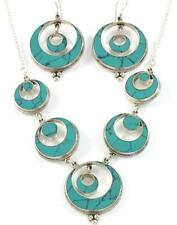 TURQUOISE MOON SHAPED NECKLACE & EARRING JEWELRY SET GENUINE 925 STERLING SILVER