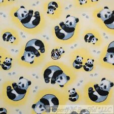 BonEful Fabric FQ Cotton Flannel Yellow Gray B&W White Baby Panda Bear Paw Print