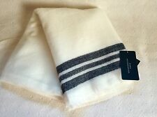 STUNNING ZARA LARGE SUPER SOFT WHITE WITH BLACK STRIPES SCARF/SHAWL. BRAND NEW.