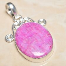 "Handmade Cherry Ruby Natural Gemstone 925 Sterling Silver Pendant 2"" #P06453"