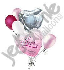 7 pc I Love You Pink Romance Heart Valentines Day Balloon Bouquet Mine Hug Kiss