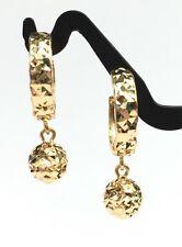 18k Solid Yellow Gold Cute Hoop Ball Dangle Earrings Diamond Cut Design 2.35 Gr.