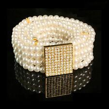 Elegant White Crystal Buckle Women Pearl Waist Belt Corset Elastic Strap Band