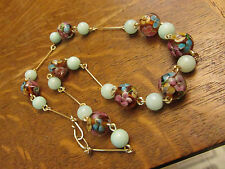 Gorgeous Vintage Edwardian Floral and green Glass bead wired necklace.