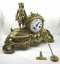 Impressive Brass French Mantle Clock With Figure