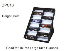 Vertical Sunglass Coverd 16 Big Pair Display Tray Standup Eyeglass Rack Portable