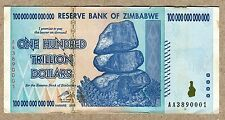 Zimbabwe 100 Trillion Dollars banknote AA 2008 P91 VF inflation currency bill