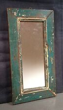 ANTIQUE/VINTAGE INDIAN WOODEN FURNITURE.  DISTRESSED TEAK MIRROR in TEAL.