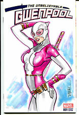 Marvel Gwenpool #1 Original Art Blank Sketch Variant Cover Spider-Man, Gwen