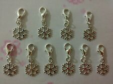 10 Pcs Silver Plated Snowflake Clip On Charms Ideal For Bracelet, Bag, Keyring..