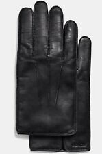 $128 Authentic COACH Mens Black Leather Wool Cashmere Lined Gloves M +Gift Box