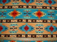 Fleece Fabric Native American Motif in Orange Turquoise & Brown sold by the yard