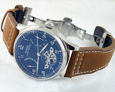 Parnis Luxury Blue Power Reserve Chronometer 43mm men deployant date watch 1293