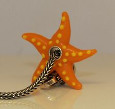 Seestern Starfish Orange European Bead Sterling Silber versilbert Murano Glas