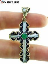 Handmade Religious Blessing Emerald Holy Cross Pendant 925 Sterling Silver P3148