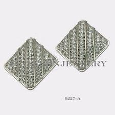 Sterling Silver 925 Rectangle Stud Screwback Earrings with Clear CZ 11mm #0227A