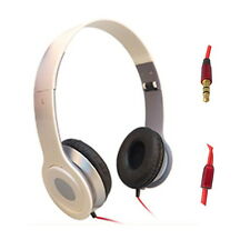 STEREO HEADPHONES DJ FOLDABLE OVER EAR MICROPHONE EARPHONE PC IPOD WHITE D095