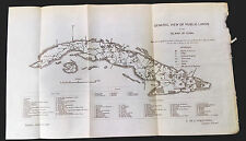 1899 Habana Cuba View of Public Lands Map P. Poruondo Inspector General