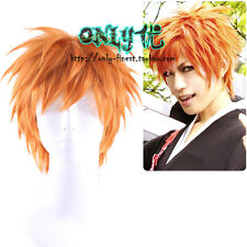 Bleach Ichigo Kurosaki Real Shot Orange Short hair Wig Cosplay Anime Boys