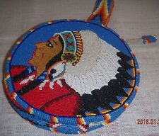 SMALL Round Vintage Beaded Bag, Purse, Leather Native American