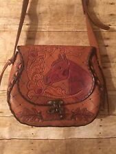 Vintage Handmade Leather Tooled Horse Western Brown Shoulder Handbag