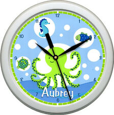 "Personalized Blue & Green Sea Creatures 10.75"" Wall Clock Nursery Bathroom Decor"