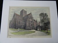 C1895 Hand Coloured & Mounted Print/Engraving of Carlisle Cathedral