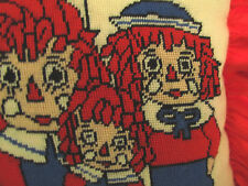 RARE Vtg PILLOW Raggedy Ann Andy & Family Doll Wool NEEDLEPOINT HandCrafted EXC