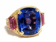 GIA Certified 18.09ct natural blue cushion tanzanite sapphire diamonds ring