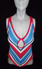 90s SEXY WOMENS ||VENUS|| RED WHITE BLUE CUT OUT CROSS BACK 1 PIECE SWIMSUIT *8*
