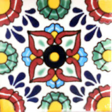 90 MEXICAN CERAMIC TILES WALL OR FLOOR USE CLAY TALAVERA MEXICO POTTERY #C090